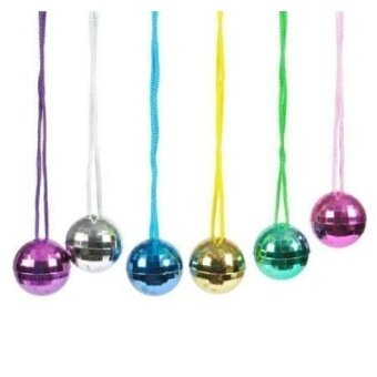 12 Plastic Disco Ball Assorted Colors Necklaces Party Favors - intl