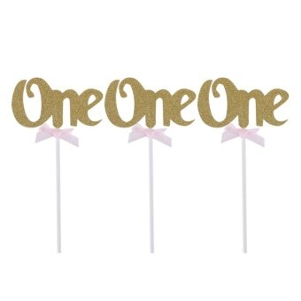 12pcs First Birthday Cupcake Toppers Glitter ONE 1st Years PartyDecoration(Gold) - intl