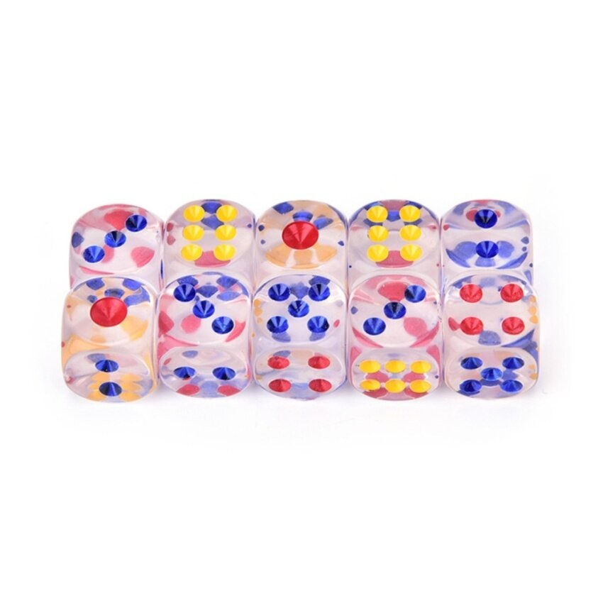 13mm 10pcs Transparent Six Sided Spot Dice Toys D6 Rpg Role Playing Game Transparent - intl