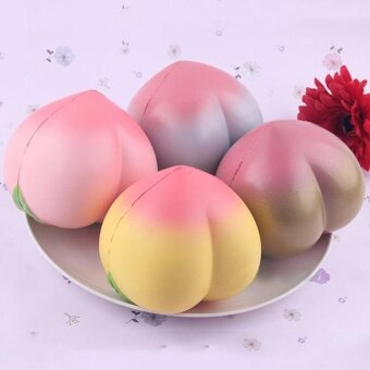 1PCS 10cm PU Artificial Lifelike Simulation Big Squishy Charm SlowRise Peach Decoration Toy Random Color - intl
