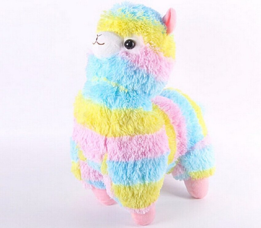 1PCS 35CM HOT HOT HOT Rainbow Alpaca Plush Toy Japanese Soft Plush Alpacasso Baby 100% Plush Stuffed Animals Alpaca Gifts - intl