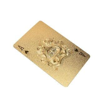 1set Golden Playing Cards Deck Magic card Plastic foil pokerWaterproof Cards - intl