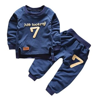 2 ชิ้นน้ำเงินเด็กผ้าฝ้ายแขนยาวจำนวน 7 ชุดกีฬาชุดเสื้อ + กางเกงชุดเสื้อผ้าแฟชั่น