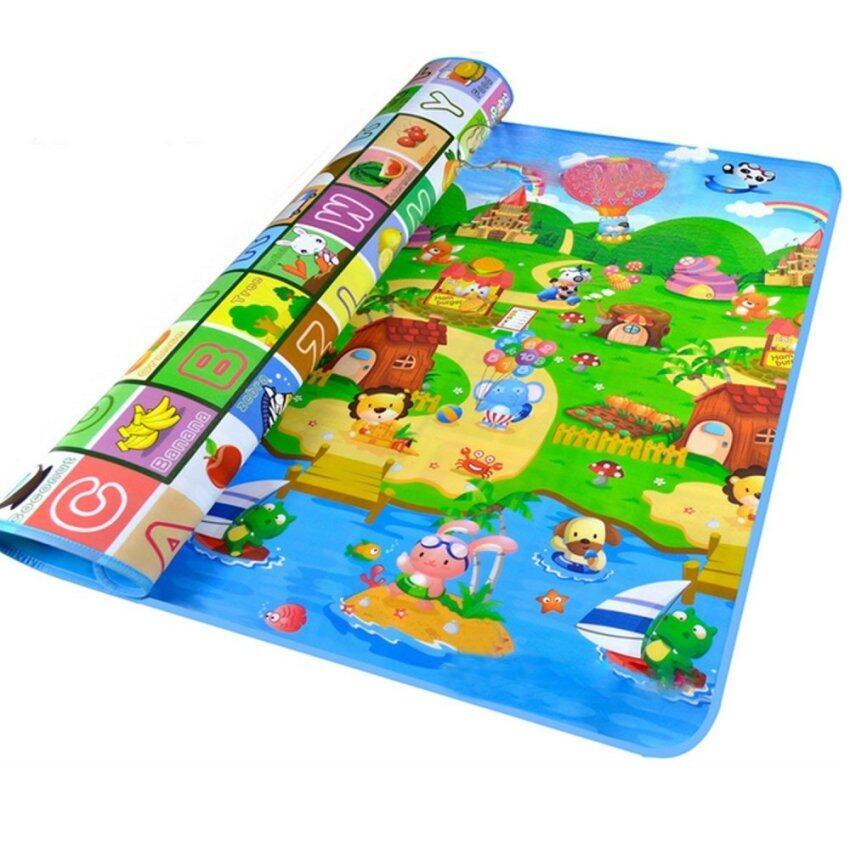 สองฟากลื่นกันน้ำผลไม้ตัวเด็กเด็กสัตว์เลี้ยงคลานเล่นเกมบนพื้นเสื่อเบาะสำหรับใช้กลางแจ้งในร่ม 200 x 180ซม.