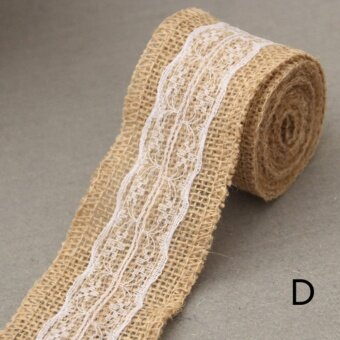 2meter Natura Jute Burlap Hessian Ribbon with Lace Trims Tape roll vintage rustic wedding decoration mariage wedding cake topper Style D - intl