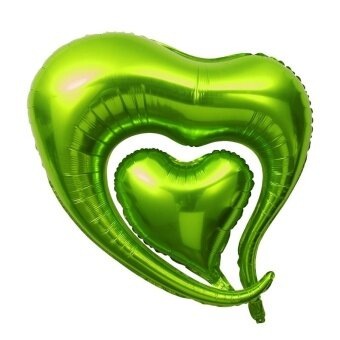 2pcs Hearts Shaped Foil Balloon Party Mylar Balloons forValentine's Day Wedding Birthday Party Decoration (Dark Green) -intl