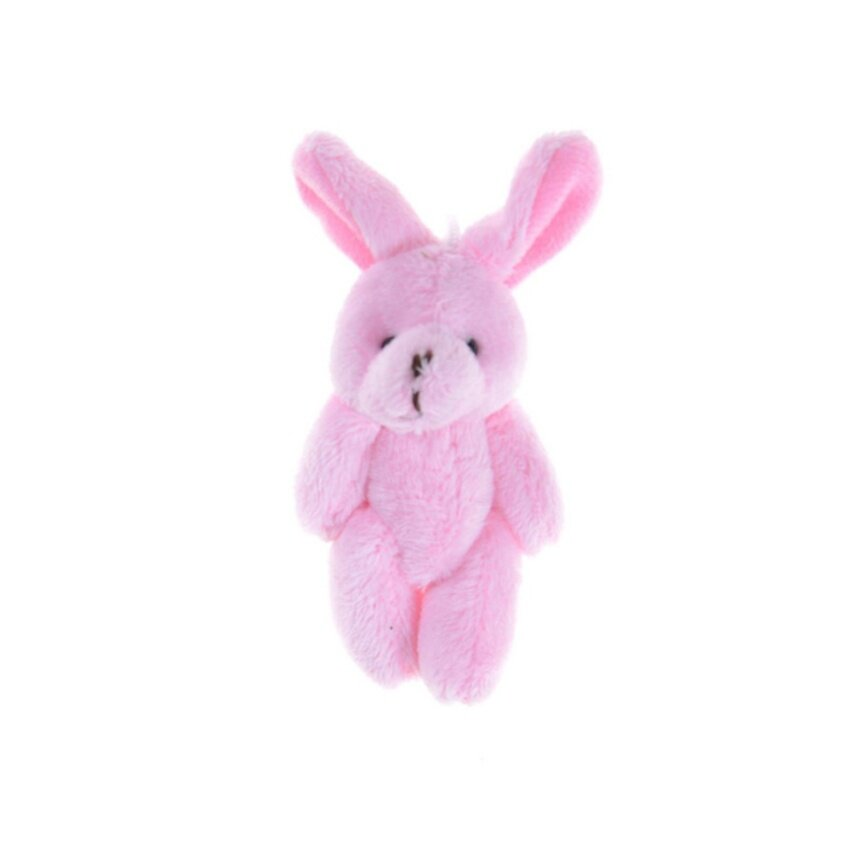 2Pcs/Set 11.5 cm Wedding Gift Joint Rabbit DIY Pendant Plush Stuffed TOY For Baby Kid Pink 11.5cm - intl