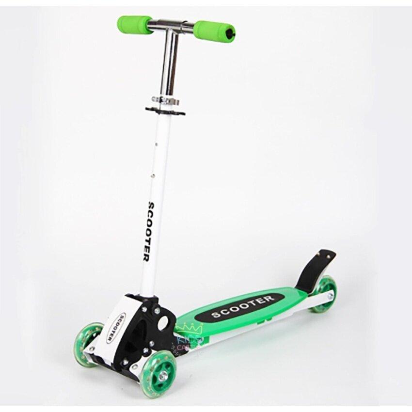 ซุปเปอร์สกู๊ตเตอร์อลูมิเนียมไซด์ใหญ่ปรับระดับ 3 ระดับ พับเก็บได้สีเขียว Scooter