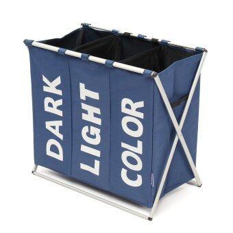 3 Section Folding Laundry Sorter Hamper Organizer Washing Clothes Basket Storage blue - intl
