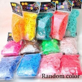 Harga 300 pcs 12 color rainbow candy Loom Refill Rubber Bands With hookClips Set(color random) - intl