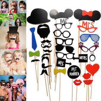 Harga 31PCS New Masks Photo Booth Props Mustache On A Stick WeddingBirthday Party