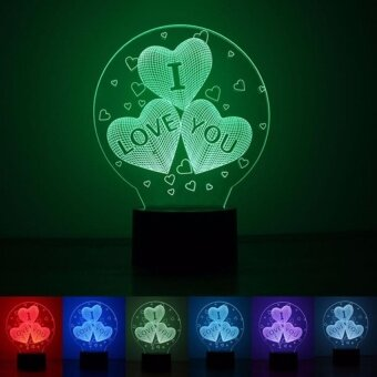 3D LED Night Light Gifts For Girlfriend Balloons Heart Shape I LoveYou Romantic Atmosphere Lamp Home Decor Gadget Nightlight 1pc - intl