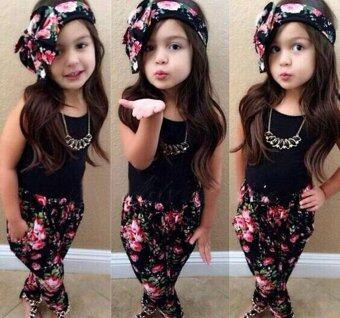3PCS Toddler Kids Baby Girls Clothes Cute T-shirt Tops Pants Headband flower Printed Casual Girl Clothing Outfits Set - intl