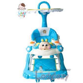 ladylazyรถเด็กหัดเดิน ปรับได้ 4 ระดับ ลายผึ้งน้อย สีฟ้า