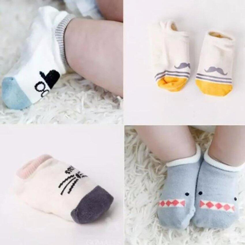 4 Pairs Cotton Baby Boys Non-Slip Socks For 0-24 Months - intl