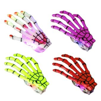 4 PCS Fashion LED Women Skeleton Hand Bone Punk Hairpin Hair Clip\nBarrette for Halloween Decoration Accessories Assorted Color - intl
