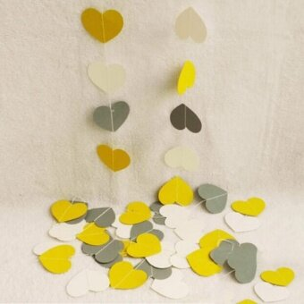 4M Hanging Paper Garland Heart Wedding Baby Shower Party Ceiling Banner Decoration Yellow Gery White - intl