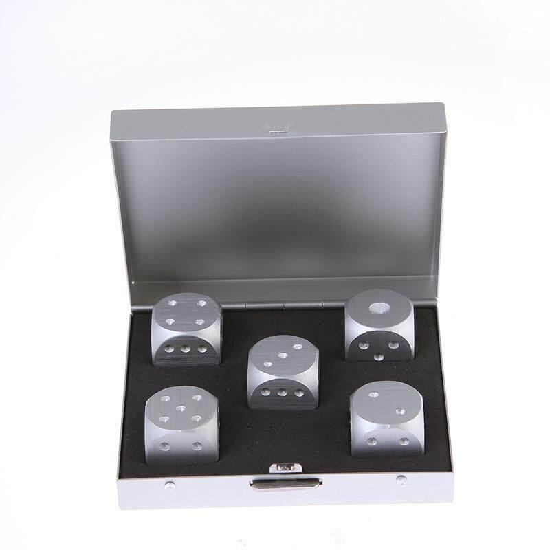 หญ้าคา 5ชิ้นเนื้ออลูมิเนียมอัลลอยเหล็กรางหมากกระดานลูกเต๋าเกมกล่องสี่เหลี่ยม (เงิน)