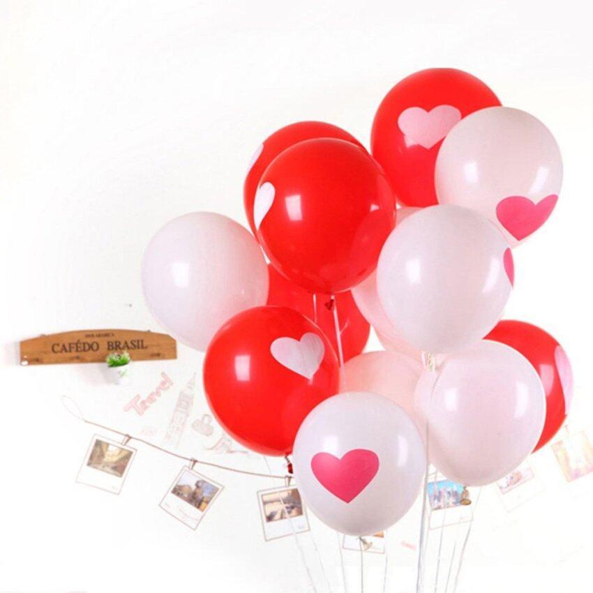 ลูกโป่งลายหัวใจ (สีขาว5 + สีแดง5) สำหรับเซอร์ไพรส์ วันวาเลนไทน์ แต่งงาน แสดงความรัก (10ชิ้น)