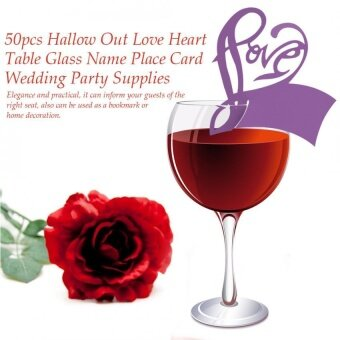 50pcs Hallow Out Love Heart Table Glass Name Place Card WeddingParty Supplies (Dark Purple) - intl