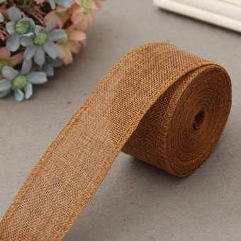 5cm*10m Natural Jute Burlap Ribbon Jute Fabric Roll Hessian Ribbon Trims Tape Rustic DIY Wedding Party Decor Brown - intl