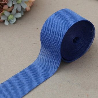 5cm*10m Natural Jute Burlap Ribbon Jute Fabric Roll Hessian Ribbon Trims Tape Rustic DIY Wedding Party Decor Dark Blue - intl