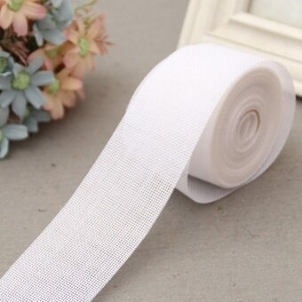 5cm*10m Natural Jute Burlap Ribbon Jute Fabric Roll Hessian Ribbon Trims Tape Rustic DIY Wedding Party Decor White - intl