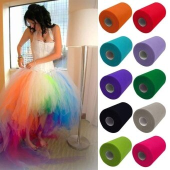 5cmx 25Y Newest Pure Color Tulle Roll Spool Tutu Dress Fabric CraftTUTU Tulle Wedding Party Home Gift Box Wrap Dcor-Style C01 - intl