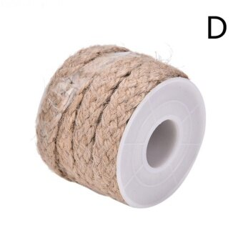 5M Natural Hessian Jute Twine Rope Burlap Ribbon DIY Craft Vintage Wedding Party Decor Style D - intl