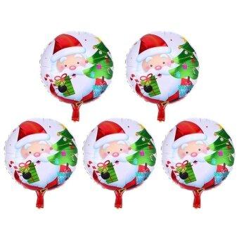 5pcs Christmas Aluminum Foil Balloons Inflatable Party Decor(Red)-Santa Claus - intl