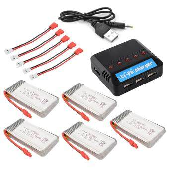 5X 1200mAh 3.7V Lipo Battery+5in1 USB Charger w/ Cable for SymaX5HW X5HC BC672