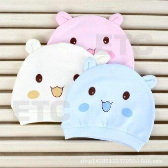 หมวกเด็กทารก หมวกเด็กแรกเกิด ลายหมี สำหรับเด็กแรกเกิด - 6เดือน (คละสี) จำนวน 3 ใบ