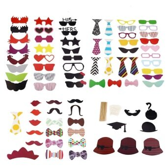 76pcs Colorful Photo Booth Props Decoration For Christmas PartyBirthday Halloween Wedding - intl