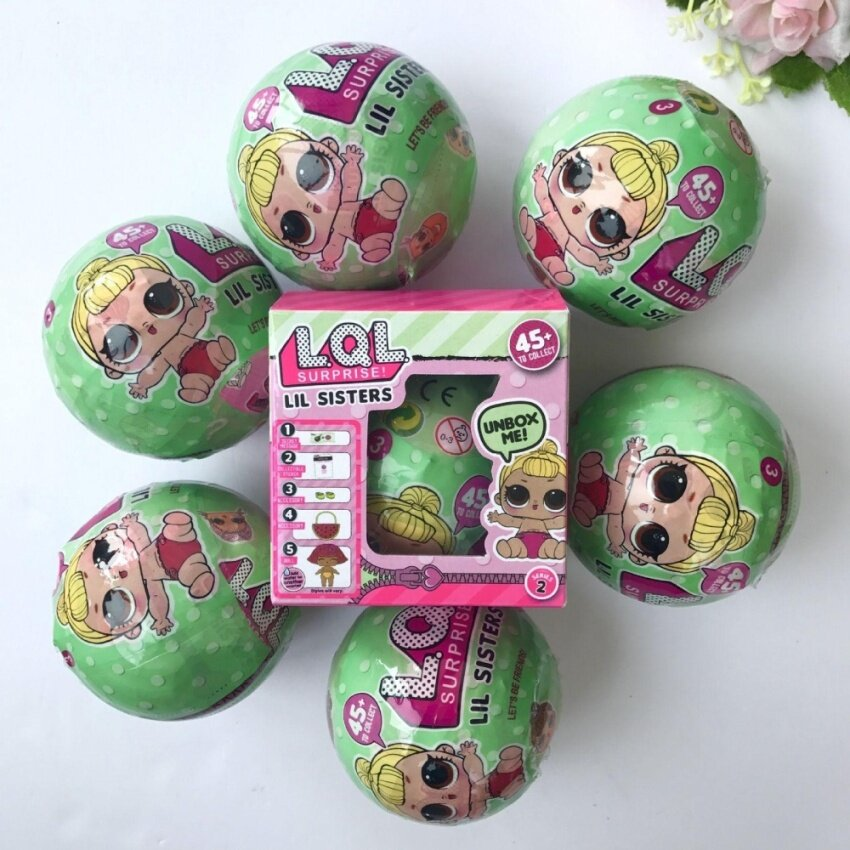8X LOL Lil Sisters Surprise Ball Series 1 Dolls 5 Layers Blind Mystery Ball Toy - intl