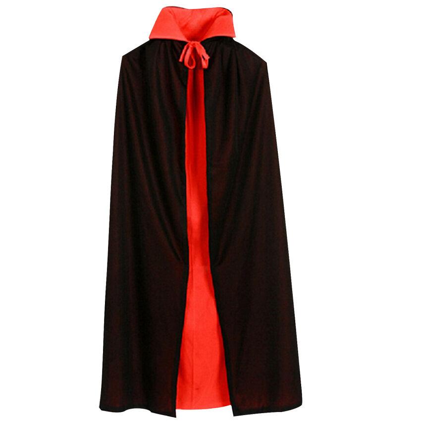 แดร๊กคูล่าแวมไพร์เสื้อคลุมสำหรับเด็กเสื้อผ้าเด็กชุดแฟนซีฮาโลวีน 90ซม L สีแดงสีดำ Reversable
