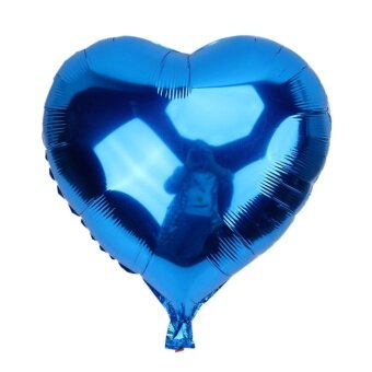 Aluminum Foil Balloon Hydrogen Balloon Wedding Heart Shape(Blue) - intl