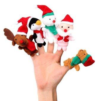Amart 5pcs/ Set Finger Puppets Toys Christmas Santa Claus SnowmanBaby Stories Helper Fingers Kids - intl