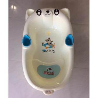 AMSTEPS อ่างอาบน้ำหมีน้อย สีขาวเเถบชมพู