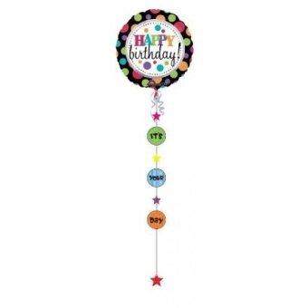 Anagram International Happy Birthday Big Dots Drop-A-Line Balloon  90 - intl