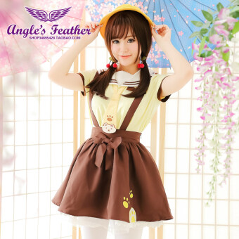 Angel ปักญี่ปุ่นนุ่มโรงเรียนอนุบาลชุดสายรัดเสื้อยืด