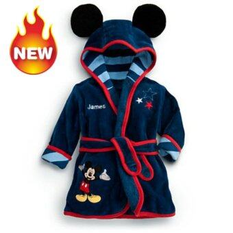 Baby Bathrobe Children Pajamas Baby Homewear Navy Blue