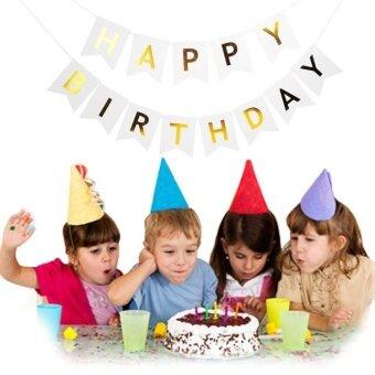 Baby Child Shiny Gold Paper Birthday HAPPY Birthday Letter BannerWhite - intl