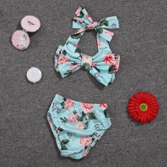 Baby Girl Floral Bow Halter Bikini Set Two Piece SwimsuitSize:12-24M - intl