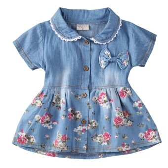 Baby Girl Summer Flower Princess Dress Party Wedding PageantDresses Clothes 0-4Y(1-2Years) - intl