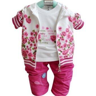 Baby Girls Kids Peony Flower Sets Coat Long Sleeve T-shirt Pant Clothes Set - intl