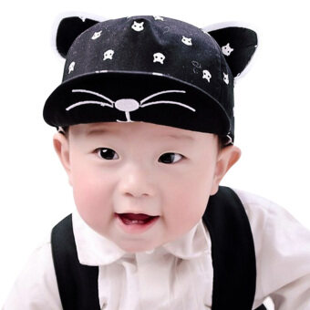 Baby Hats With Ears Baseball Cap Baby Boys Girls Sun Hat (Black) -intl