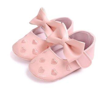 Harga Baby PU Leather Moccasins Shoes Bow Tie Soft Soled Non-slipFootwear Crib Shoes - intl