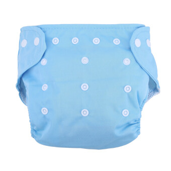 Harga Baby Soft Washable Adjustable Grid Diapers (Blue)