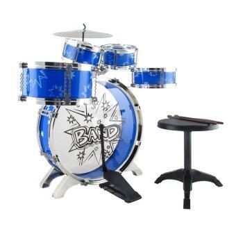 BaByBlue Toy กลองชุด 5 ชิ้น สำหรับเด็ก พร้อมเก้าอี้ สีน้ำเงิน
