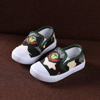 รองเท้าผ้าใบลายพรางที่กันลื่นของเด็ก